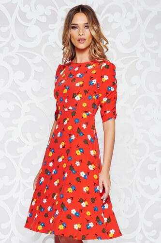 03fc176af2 Piros StarShinerS casual harang ruha vékony anyag virágmintás díszítéssel