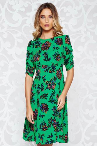 94ac4dde54 Zöld StarShinerS casual harang ruha vékony anyag virágmintás díszítéssel