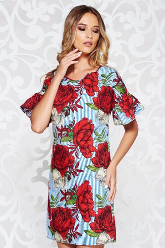 6db824b2ec StarShinerS Piros casual egyenes ruha nem elasztikus pamut virágmintás  díszítéssel