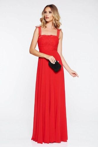 StarShinerS Piros alkalmi ruha belső béléssel fátyol anyag horgolt csipke  felsőrész 1a70d9d483