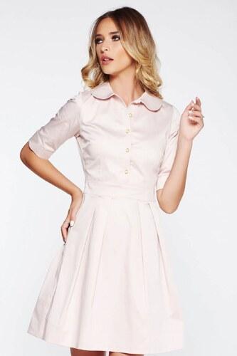 Rózsaszínű StarShinerS irodai harang ruha enyhén rugalmas anyag kerek gallér 606b6383e9