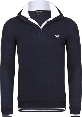 Tmavě modrý luxusní svetr na zip od Emporio Armani - Glami.cz a79dd2aaec