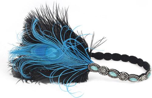 B-TOP Luxusní čelenka do vlasů s kamínky a peřím ve VINTAGE stylu -  černá modrá c661efbcbf