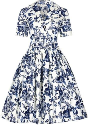 9468e082012 COLLECTIF Dámské retro šaty Janet Modré květiny - Glami.cz