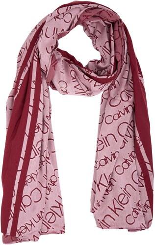 Calvin Klein červený oboustranný šátek Burn Out - Glami.cz 1e271645e1