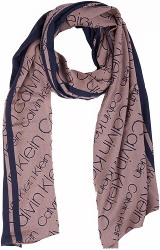 Calvin Klein béžovo-modrý oboustranný šátek Burn Out - Glami.cz 551c25bc81