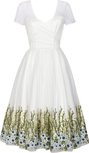 382e3e9ea0d COLLECTIF Dámské retro šaty Nina bílé s květinami - Glami.cz
