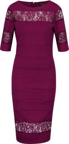 Tmavofialové puzdrové šaty s čipkou Paper Dolls - Glami.sk 9f9695aac95