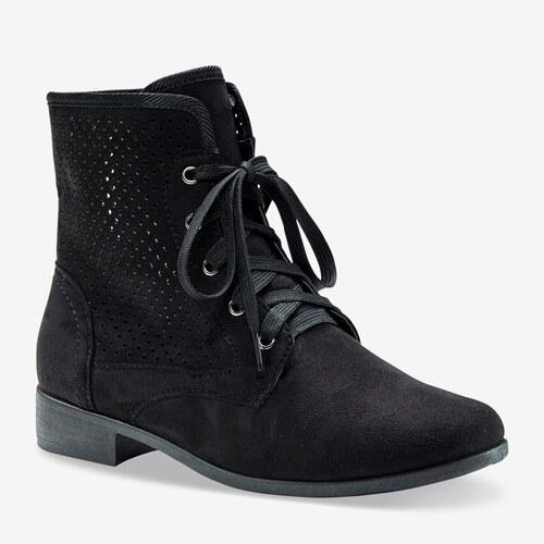 9e998ec829b6 Blancheporte Perforované šnurovacie členkové topánky čierna 39 ...