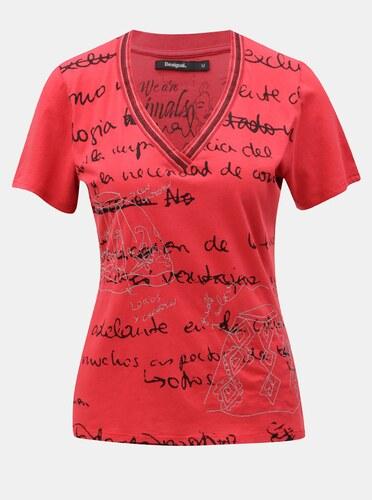 88f15c261 Červené tričko s potlačou Desigual - Glami.sk
