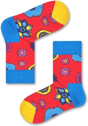 Dětské Dětské červené ponožky Happy Socks s květy x The Beatles - 7 ... 75c86188b9