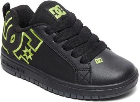 -100 Kč DC Shoes Dětské boty DC Court Graffik Se black black soft lime ba08a1c1ee