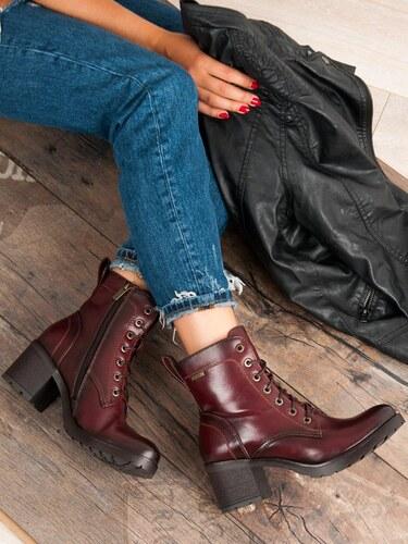 Bordové šnurovacie topánky Vinceza XY19-10458R - Glami.sk d830d1027a3