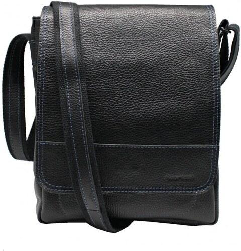 Scorteus Pánska kožená taška cez rameno Scorteus na iPad SM 1137 čierna f031143f693