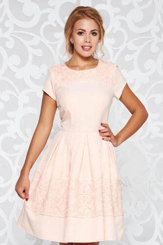 StarShinerS Rózsaszínű elegáns harang ruha enyhén elasztikus szövet csipke  díszítéssel 90783894da