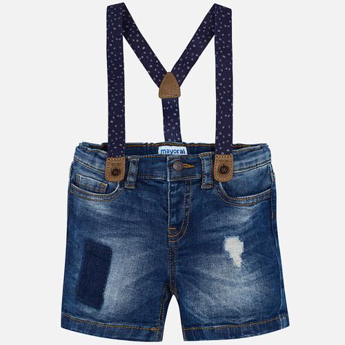 MAYORAL chlapecké jeansové kraťasy s kšandami - modré - Glami.cz 53e2ae9b32