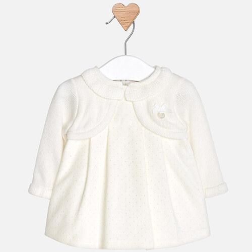 66c8effa5a57 MAYORAL dívčí pletené šaty s třpytkami béžové - Glami.cz