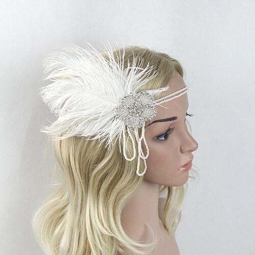B-TOP Luxusní čelenka do vlasů s kamínky a peřím ve VINTAGE stylu - bílá 4fa4d708c0