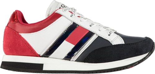 Nové Tommy Hilfiger Tommy Jeans Retro Runner Trainers Wht Red Navy 146995 5f9c1c06798