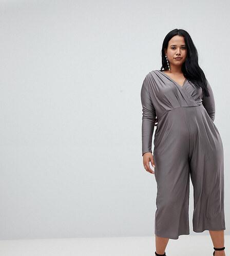 e743b751900b AX Paris Plus slinky wrap jumpsuit - Grey - Glami.cz