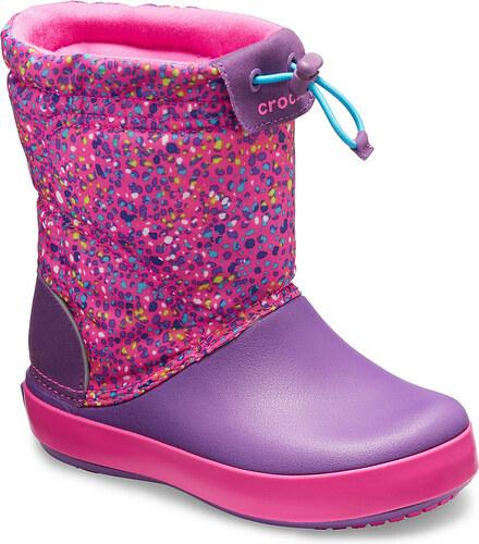 6548e269b99 ... Crocs dětské fialové sněhule Crocband Lodgepoint Graphic Neon  Magenta Amethyst - C8