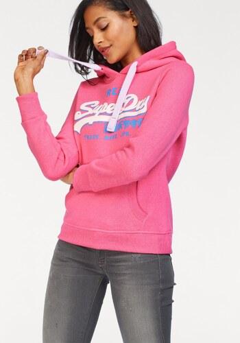 Superdry Mikina s kapucňou »VINTAGE LOGO TRI ENTRY HOOD« neon pink  melírovaná 92d28a04ec3