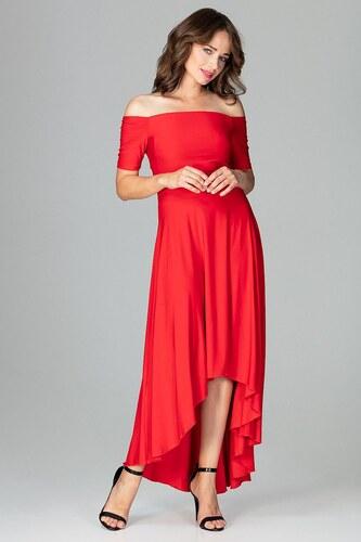Lenitif Červené elegantné spoločenské asymetrické MAXI šaty K485 ... e2003c321df