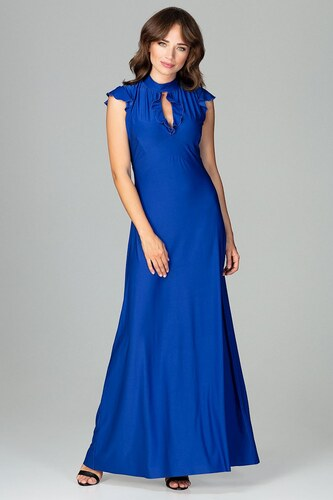 Lenitif Kráľovsky modré elegantné spoločenské MAXI šaty so slzovým  výstrihom K486 0c53d89e091