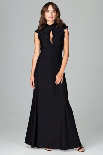 Lenitif Čierne spoločenské MAXI šaty so slzovým výstrihom K486 ... a28d82db7d2