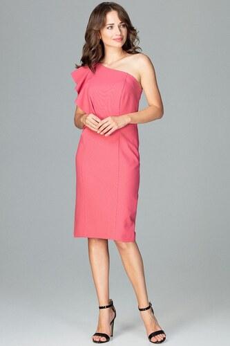 Lenitif Koralové elegantné spoločenské šaty s volánom na jedno rameno K488 d43e122c8d9