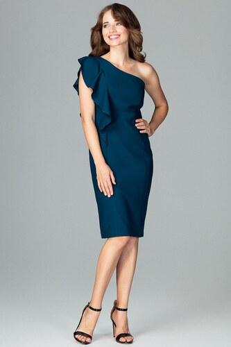 Lenitif Morsky zelené elegantné spoločenské šaty s volánom na jedno rameno  K488 34431b0e2fb