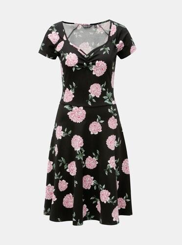 Černé květované šaty s krátkým rukávem Dorothy Perkins Tall - Glami.cz e5ba60c0c5
