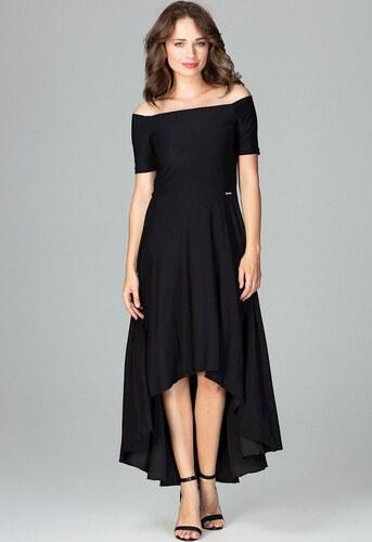 LENITIF Spoločenské šaty odhaľujúce ramená K485 Black - Glami.sk 4e0ba6df522