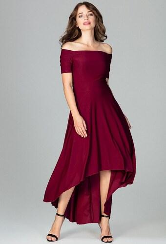 LENITIF Spoločenské šaty odhaľujúce ramená K485 Deep Red - Glami.sk cabb038792e