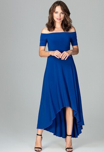 LENITIF Spoločenské šaty odhaľujúce ramená K485 Sapphire - Glami.sk b17a303b1f5