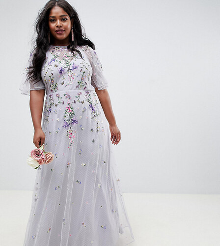 4add3058f3ba Nové ASOS Curve ASOS DESIGN Curve floral embroidered dobby mesh flutter  sleeve maxi dress - Grey