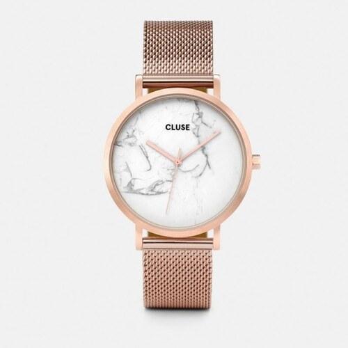 Dámské hodinky z nerezové oceli v barvě růžového zlata s mramorovým  ciferníkem Cluse La Roche Mesh ccea490c79