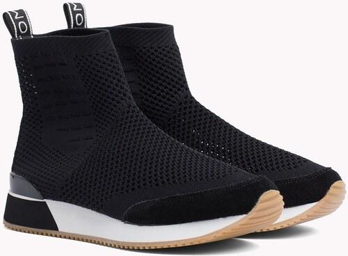 Tommy Hilfiger fekete boka cipô Knitted Mid Lifestyle Sneaker Black ... 556783d5e3