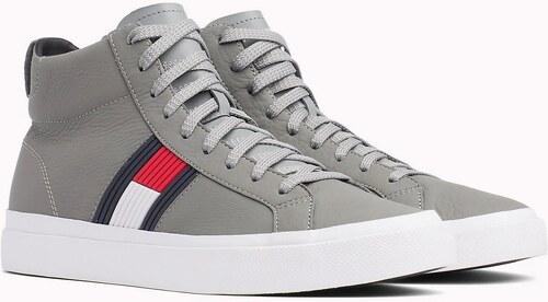 4c95c1e1777c ... Tommy Hilfiger šedé kožené unisex tenisky Flag Detail High Leather  Sneaker Light Grey - 42