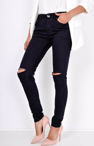 BASIC Černé džínové kalhoty s roztrhanými koleny - R8745 - Glami.cz a6bc9edff1