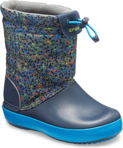 Crocs Chlapčenské snehule Kids  Crocband LodgePoint Graphic Boot - modré 0bec921310