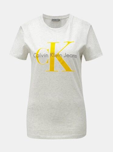 2df8f0440dad Sivé dámske melírované tričko s potlačou a výšivkou Calvin Klein Jeans