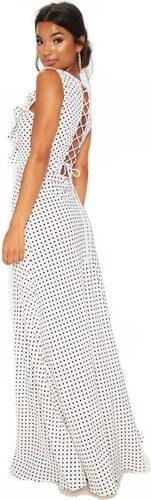 PRETTYLITTLETHING Bodkované maxi šaty so šnurovaním na chrbte - Glami.sk 3a6f6ae1593