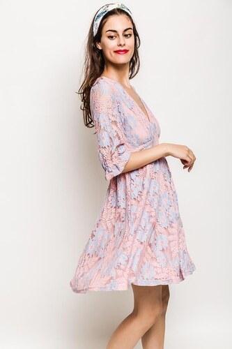 988422dcfab2 Rouzit Svetloružové kvetinové šaty s véčkovým výstrihom - Glami.sk