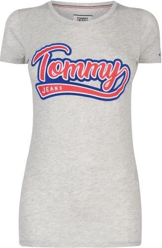 eb01fc0566 Dámské triko Tommy Hilfiger Jeans TJW Vintage Šedé - Glami.cz