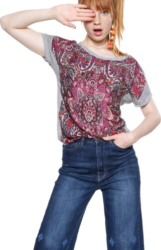 Desigual sivo-ružové tričko Sevilla - Glami.sk 004cbec23f9