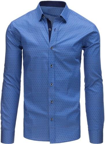 aacdf0d5f6ca Nebesky modrá pánska košeľa s dlhým rukávom a vzorom - Glami.sk
