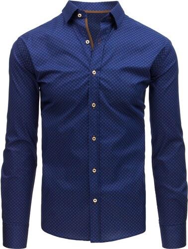 Dstreet Modrá pánská košile v elegantním vzoru - Glami.cz affa0dad0f