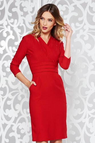 StarShinerS Piros ruha elegáns ceruza enyhén elasztikus pamut gyöngyös  díszítés v-dekoltázzsal 706fe34c64