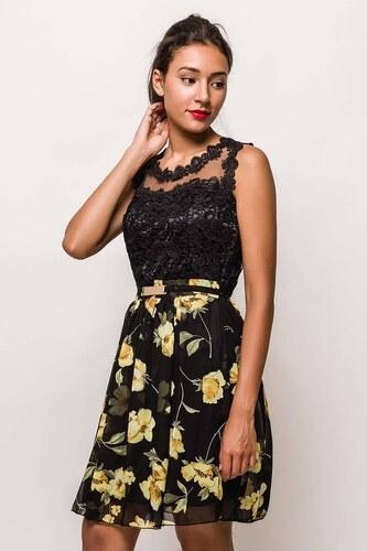 Rouzit Krátke čipkované čierne šaty s kvetovanou sukňou - Glami.sk 4f12931f13a